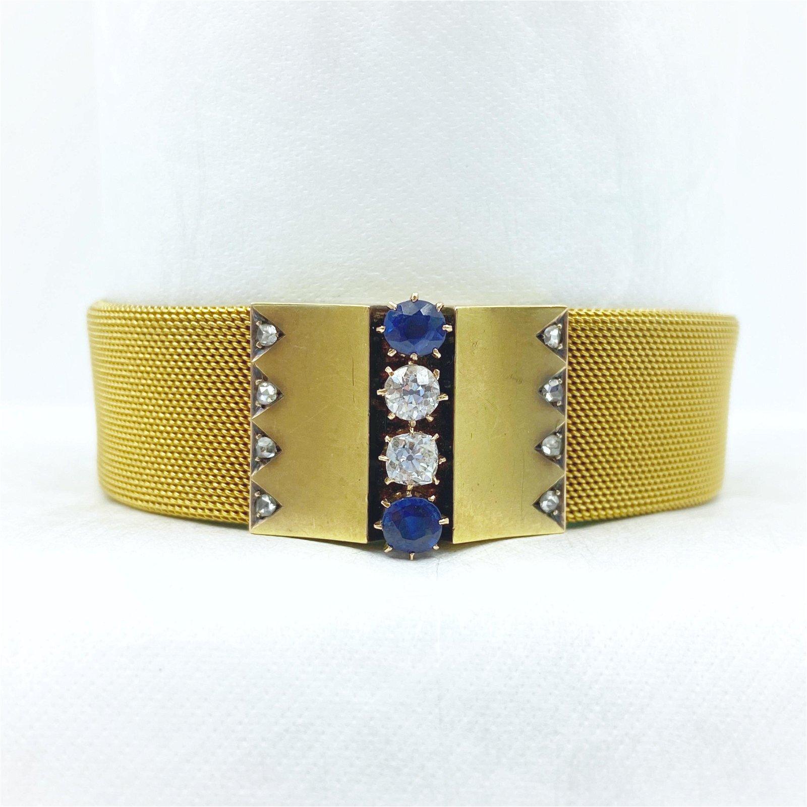 Victorian Gold Diamond Sapphire Bracelet