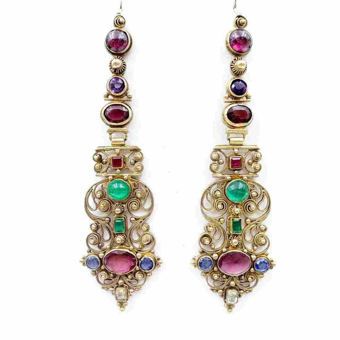 Rare Early Georgian Gold Cannetille Earrings