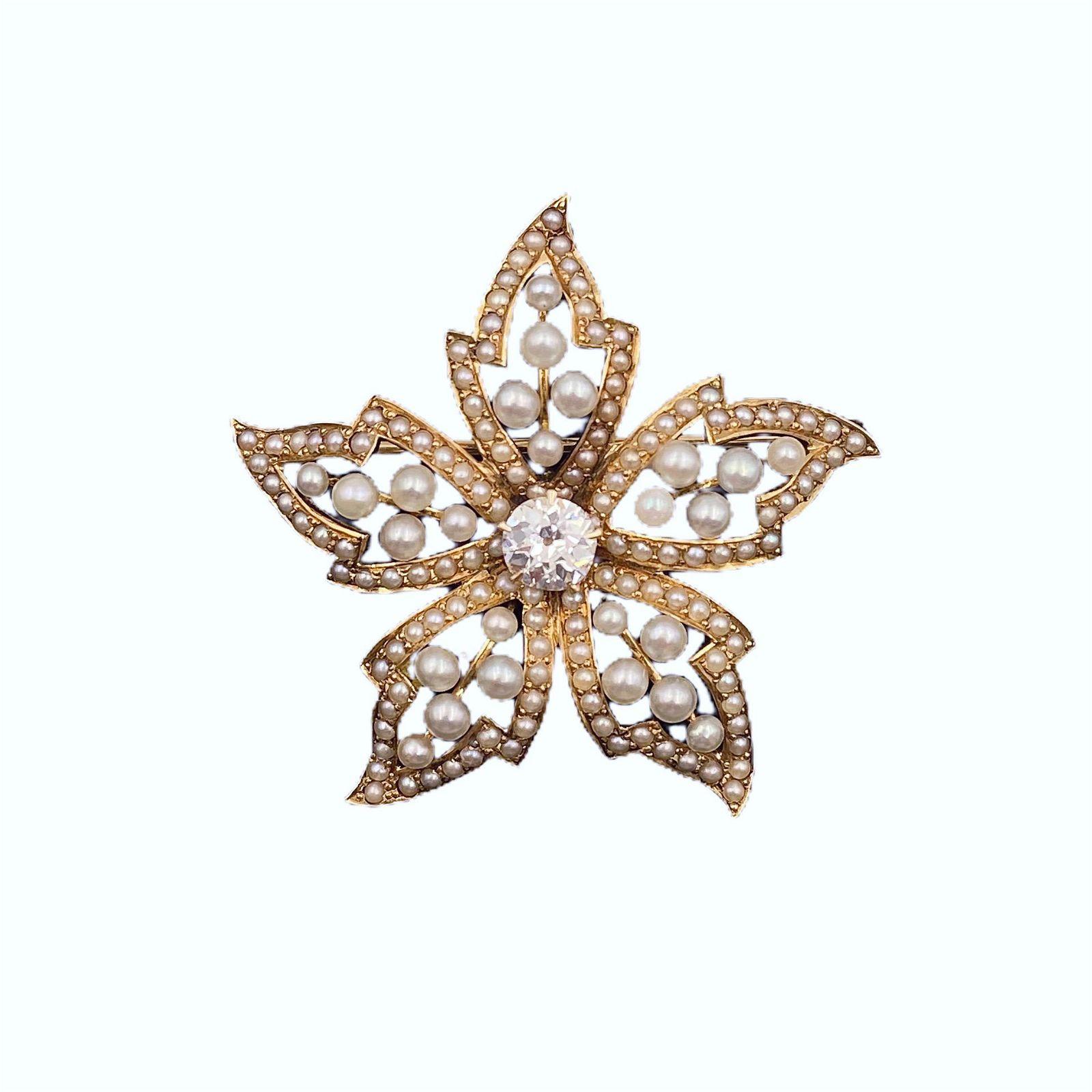 Victorian Gold Diamond Pearl Flower Brooch Pendant