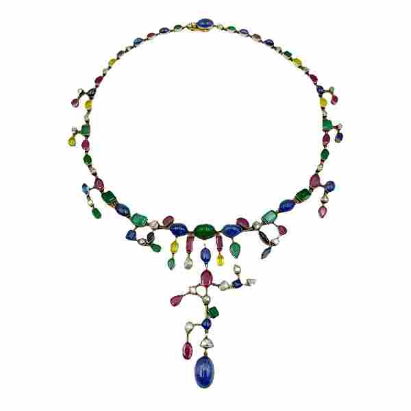 Vintage 18K Gilt Silver Gemstone Statement Necklace