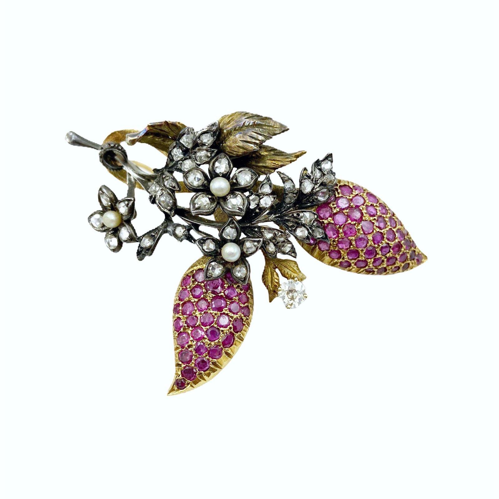 Antique Gold Diamond Ruby Pin