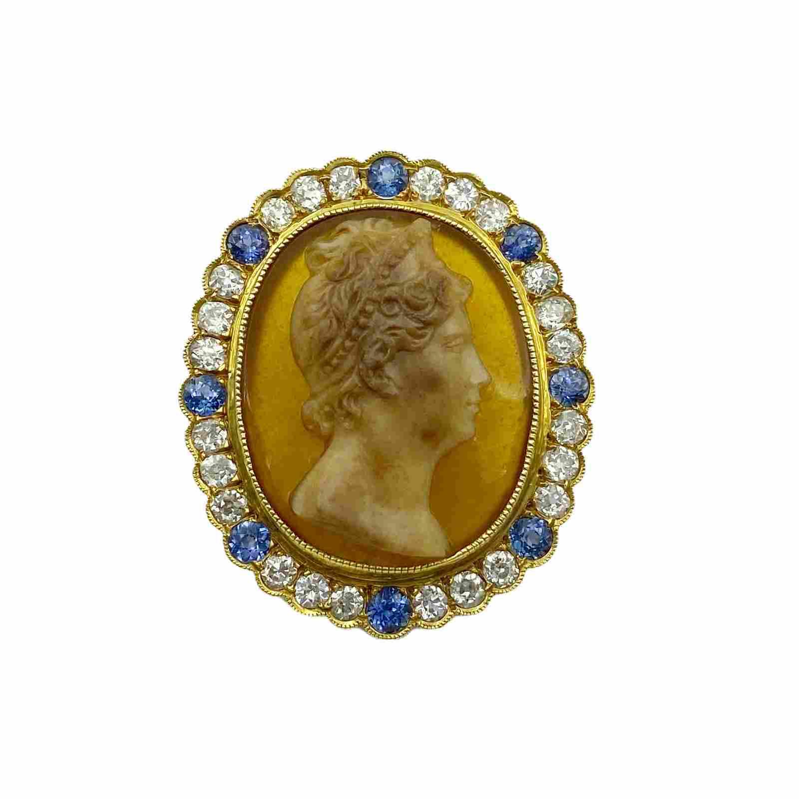 Victorian Gold Diamond Sapphire Hardstone Cameo