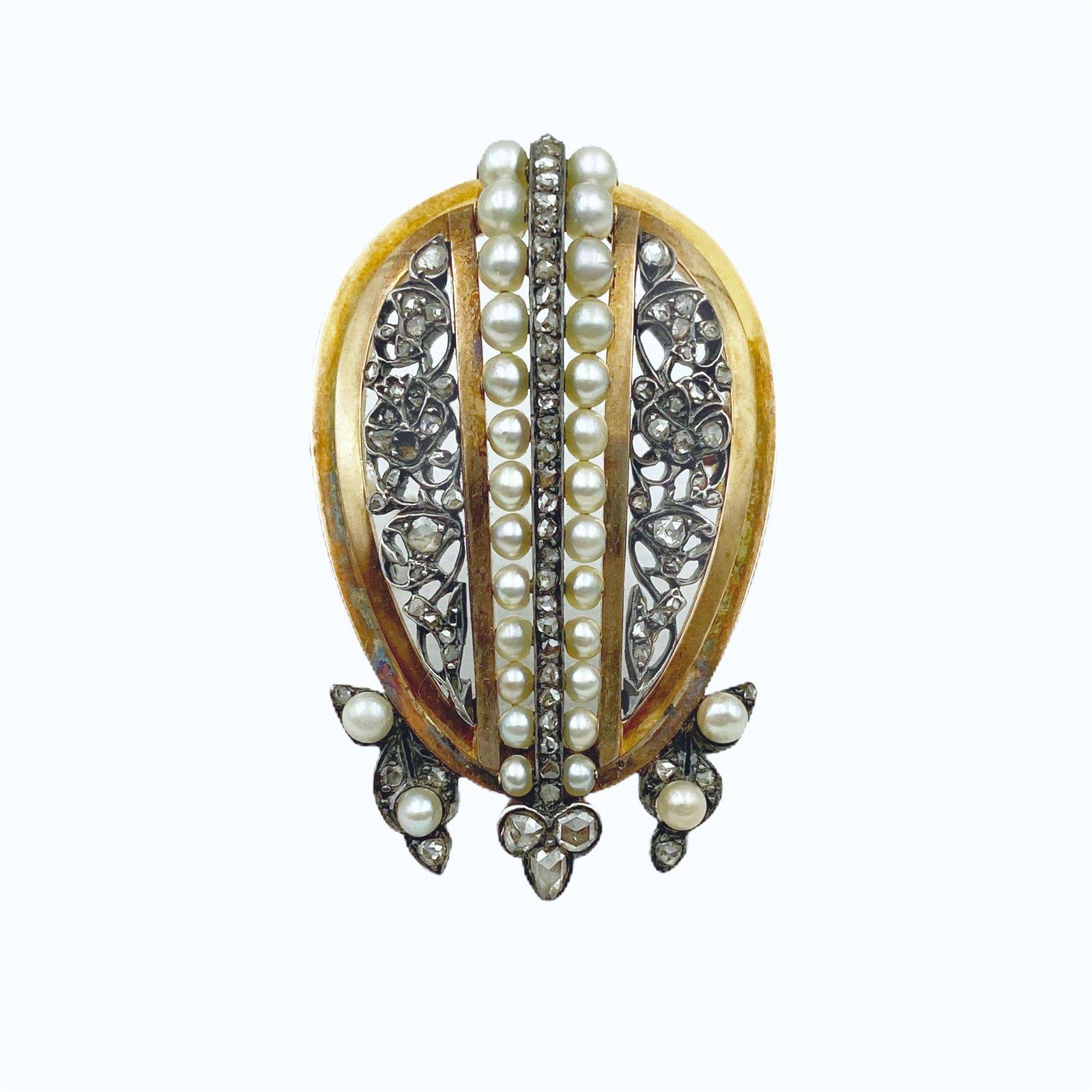 Victorian Gold Diamond Pearl Pin
