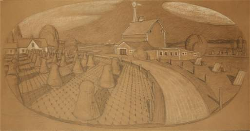 Grant Wood (1891-1942) Large Original Drawing