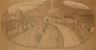 Grant Wood (1891-1942) Large Original Drawing