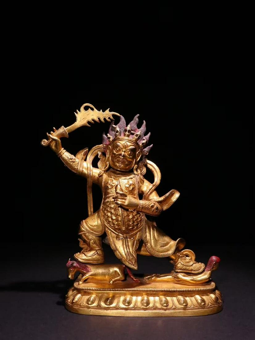 A Chinese Bronze Gilding Statue