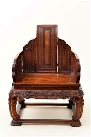 A Chinese Rosewood Dragon Patterned Chair
