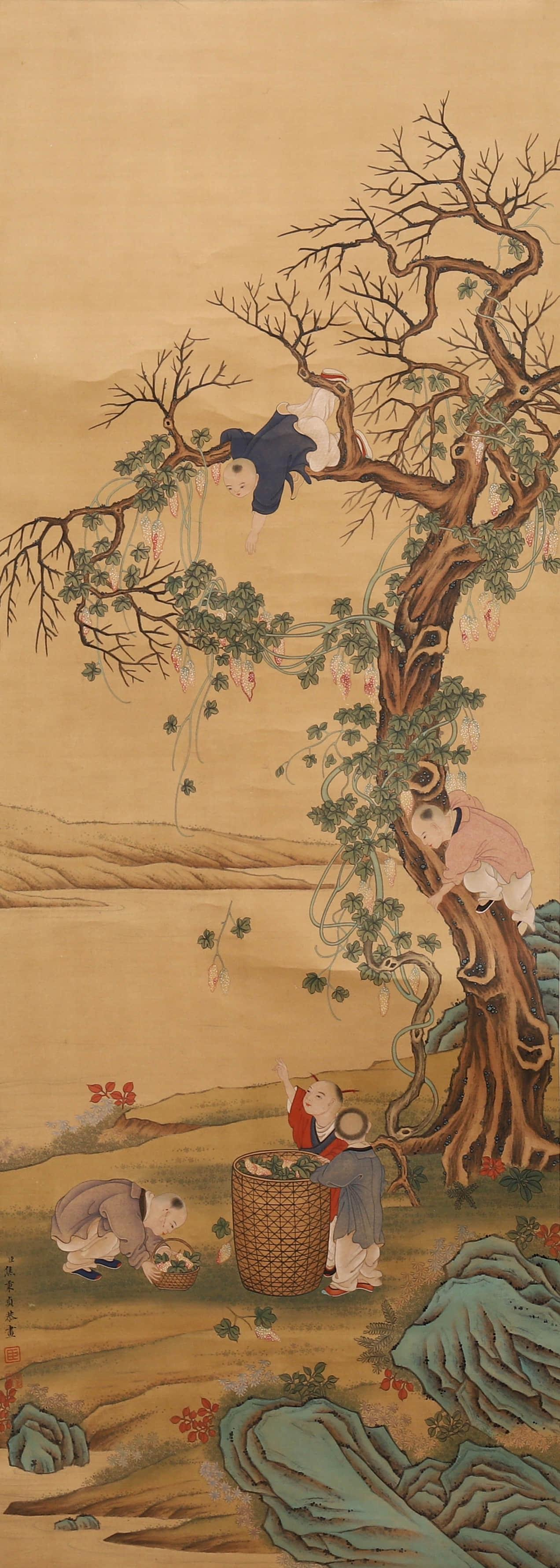 A Chinese Figure Painting, Jiao Bingzhen Mark