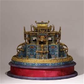 A CLOISONNE ENAMEL PALACE TAN  CHENG