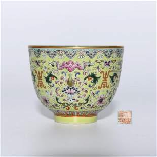A Green Ground Famille Rose Gilt Flower Porcelain Cup