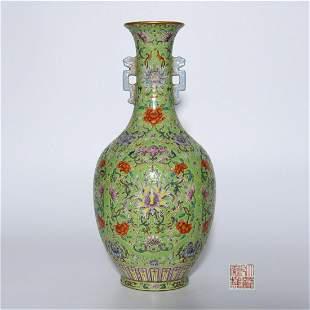 A Green Ground Famille Rose Flower Porcelain Vase