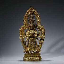 A Gild Bronze Eleven Face Eight Arns Guanyin Statue