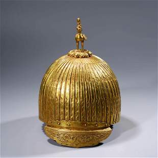 A Gilt-bronze Carved Hat