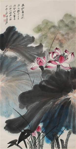 A Chinese Flowers Painting Scroll, Zhang Daqian Mark