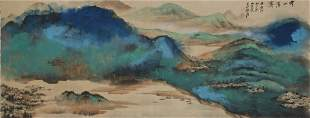 A Chinese Landscape Painting Scroll, Zhang Daqian Mark