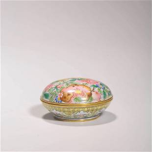 A Bronze Enamel Flower Seal Box And Cover Qianlong