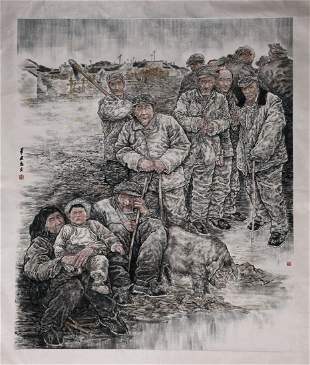 A Chinese Painting Of Working Man Signed Bi Jianxun