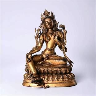 A Gilt Bronze Figure Of Seated Green Tara