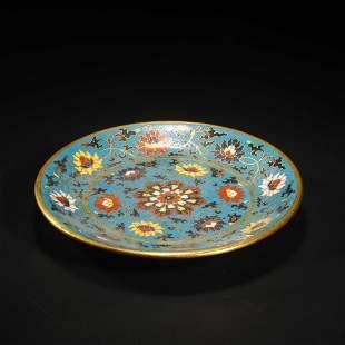 A Cloisonne Enamel Floral Plate