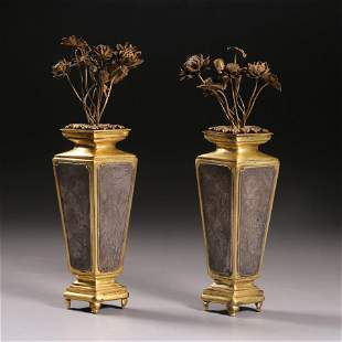A Pair Of Inlaid Bronze Faceted Vases