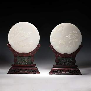 A Pair Of Hetian Jade Landscape And Figure Round Table