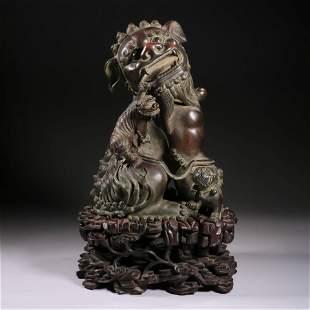 A Bronze Buddhist Lions Group Censer