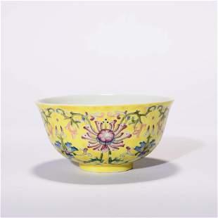 A Famille Rose Lotus Scrolls Bowl