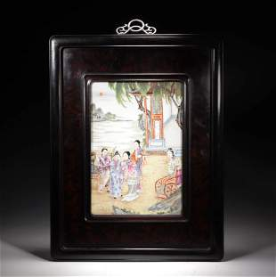 A Famille Rose Figure Hanging Plaque With Sandalwood
