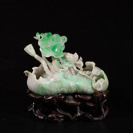 A Mottled Jadeite Lotus Ornament