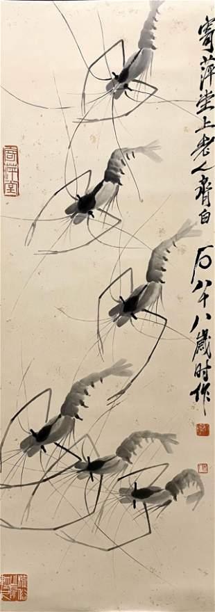 A Chinese Painting Of Shrimps Signed Qi Baishi