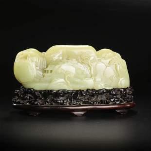 A Hetian Yellow Jade Landscape Boulder