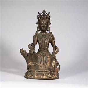 A Gilt Bronze  Seated Manjusri