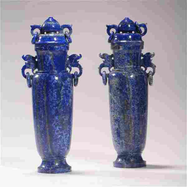 A Pair Of Lapis Lazuli Loop-Handle Vases And Covers
