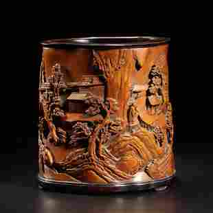 A Carved Boxwood Brushpot
