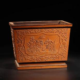 A Carved Bamboo Orchid And Flowers Square Brush Pot