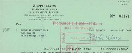 Zeppo Marx signed check