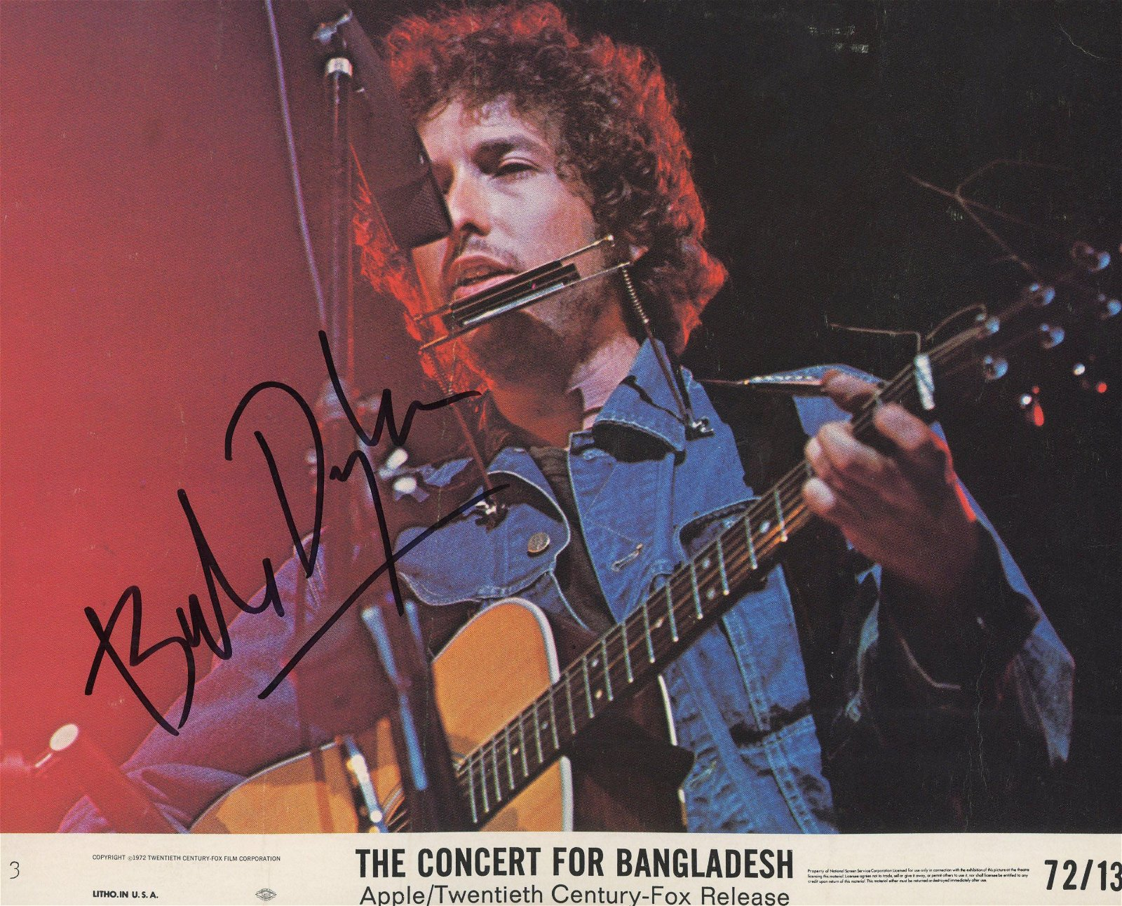 The Concert for Bangladesh Bob Dylan signed movie photo