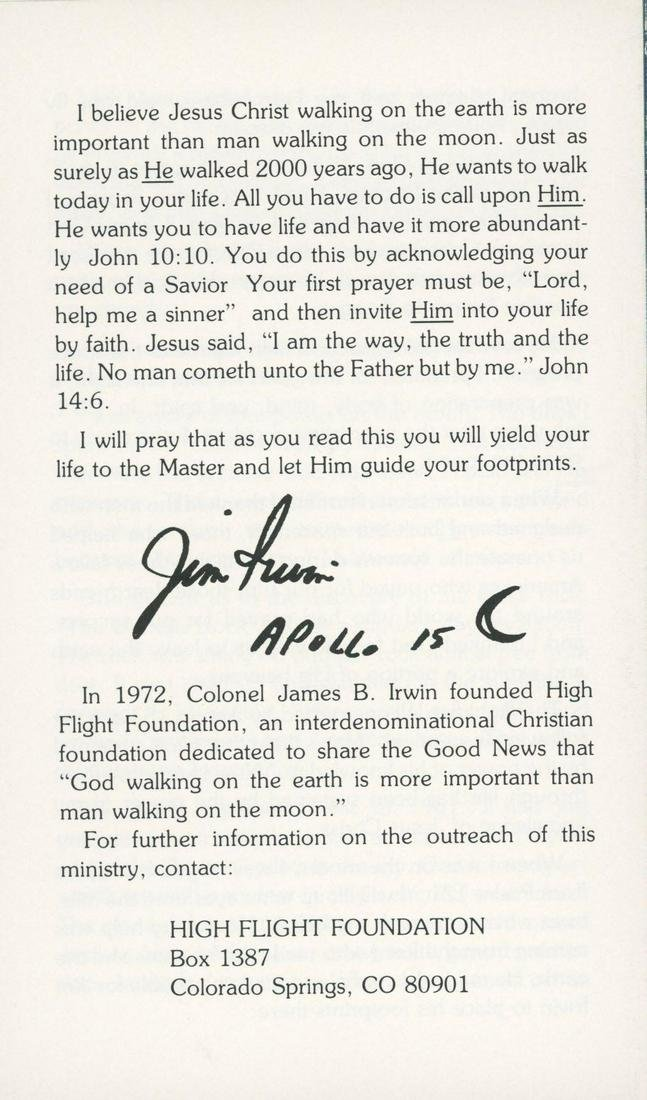 Col. James Irwin signed event flyer