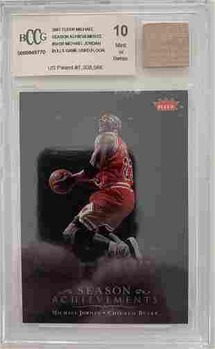 Michael Jordan basketball card and game used floor