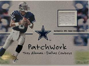 Troy Aikman football card and game used jersey swatch