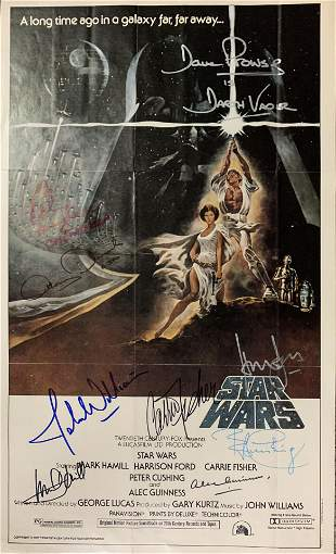 Star Wars A New Hope vintage cast signed insert poster