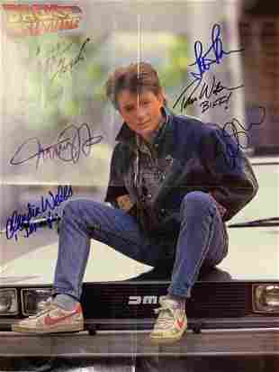Back To The Future cast signed insert poster