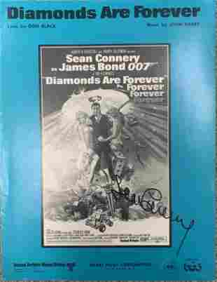 Sean Connery signed Diamonds Are Forever sheet music
