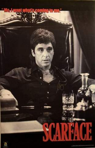 "Al Pacino signed ""Scarface"" movie poster"