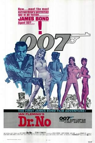 Dr. No 1962R original vintage one sheet movie poster