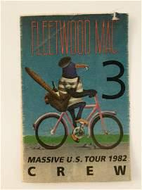 Fleetwood Mac Massive US Tour 1982 Backstage Crew Pass