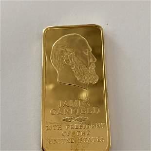 James Garfield Danbury Mint Presidential 24k GP Bronze