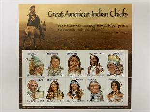 Great American Indian Chiefs stamp sheet