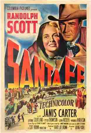 Santa Fe original 1951 vintage linen backed one sheet