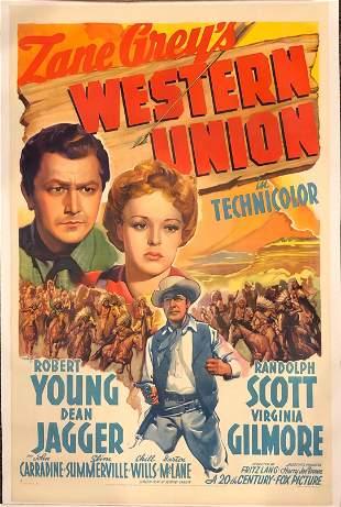 Western Union original 1940 vintage linen backed one